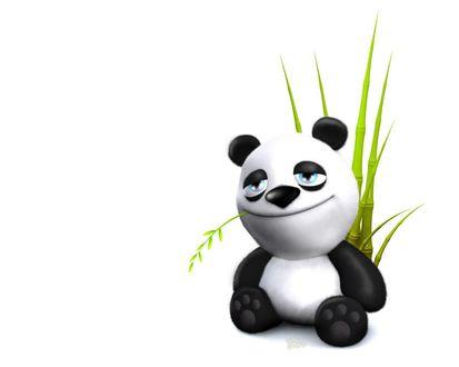 Обои Прикольная панда (бамбуковый медведь) меланхолично жуёт побеги молодого бамбука