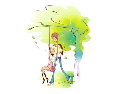 Обои Парень качает на качелях девушку, качеля на ветке большого дерева