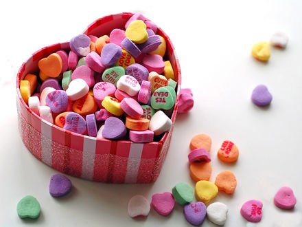 Обои Конфеты в виде сердечек с надписями в коробке в виде сердечка (Yes dead, E mail, Hug me)