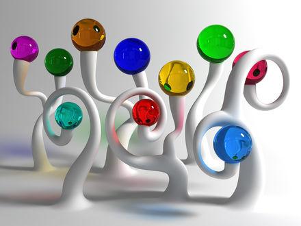 Обои Цветные шарики на изогнутых стеблях