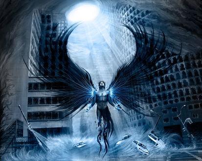 Обои Падший ангел посреди туманного города, потоком воздуха сносит машины