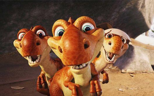 Обои Ice Age Ледниковый Период три динозаврика только что вылупились