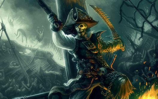 Обои Пират - на половину мертвец, отбивается от врагов на судне полном мертвых