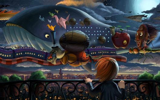 Обои Девочка погрузилась в мечты и видит сказочные дерижабли пролетающие над городом в виде кита, яблока, поезда и разных цветных предметов