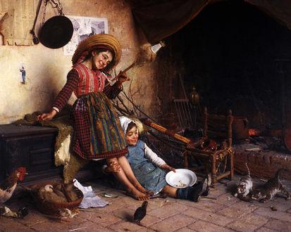 Обои Картина неизвестного художника: Две смеющиеся девучки наблюдают за котятами, бедная жизнь в селе