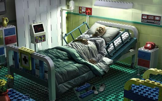 Обои Старик при смерти лежит в палате, построенной из конструктора лего LEGO