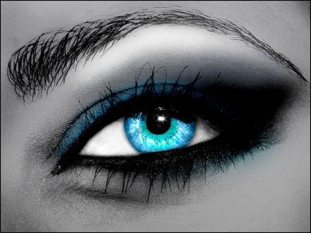 Обои Очень красивый синий глаз с синими тенями и бликами
