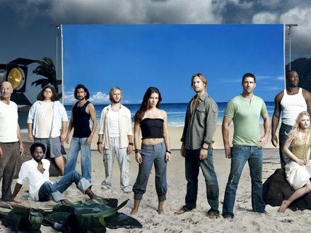 Обои Актеры сериала Lost Остаться в живых все в сборе на съемочной площадке