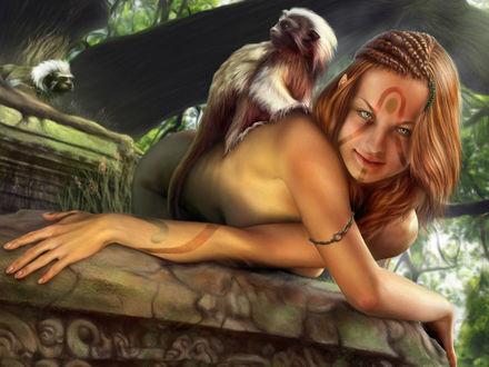 Обои Лесная нимфа с разрисованным лицом, косичками, и обезьяной на спине