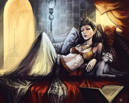 Обои Красивая принцесса лежит на подушках, рядом с ней ручная рысь