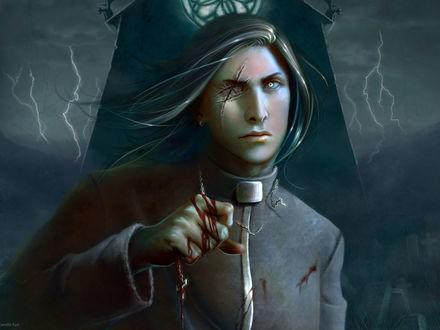 Обои Священослужитель без глаза, с кровавым крестом