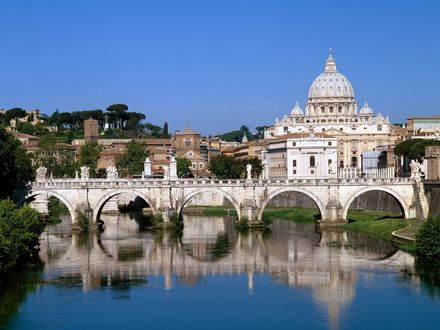 Обои The Vatican Seen Past the Tiber River, Rome, Italy