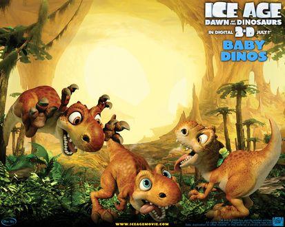 Обои Ледниковый период 3, Ice age down of the dinosaurs in digital 3d july 1 SCRATTE Динозавры играют друг с другом