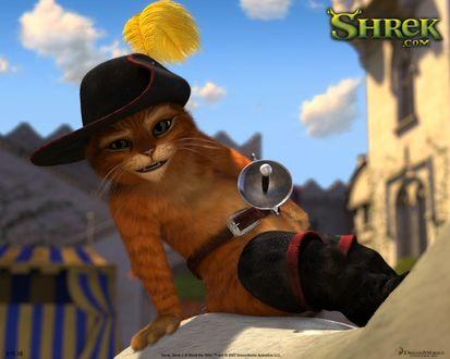Обои Shrek, Шрек, кот в сапогах сидит на осле