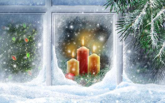 Обои Рождественские свечи