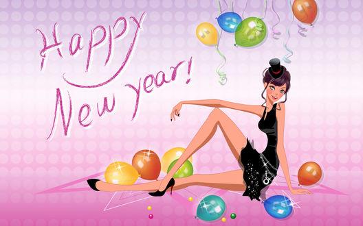 Обои Happy New Year! Девушка в шляпке сидит на полу в окружении шариков