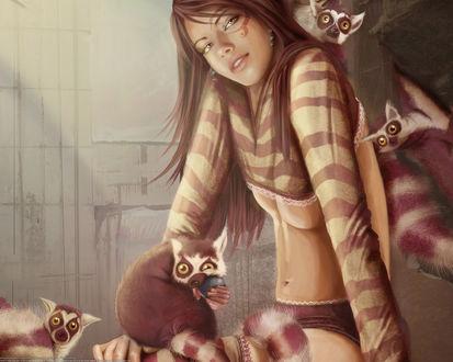Обои Красивая девушка в окружении лемуров