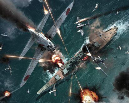 Обои бомбардировка корабля с воздуха