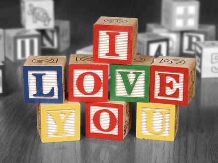 Обои Кубики, I love you