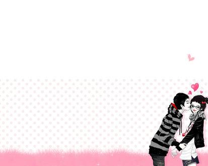 Обои влюбленная пара, парень целует девушку