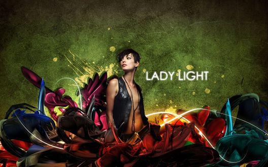 Обои Lady Light Девушка сидит  в трехмерной абстракции