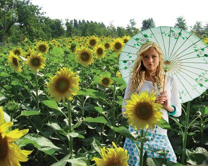 Обои Девушка с зонтиком на поле маленьких солнышек-подсолнухов.