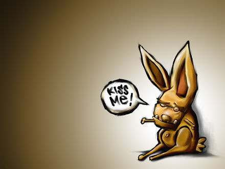 Обои Страшный кролик без лапок просит поцеловать его (kiss me!)
