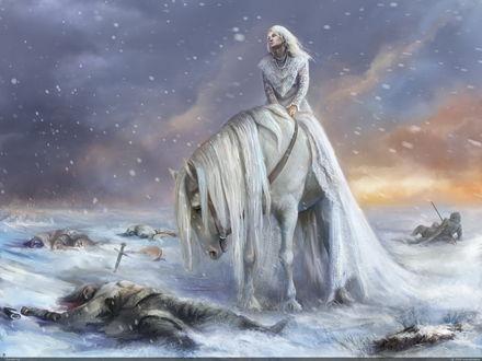 Обои Белый конь со всадником идут по полю, мимо трупов еще недавно сражавшихся людей, под падающим снегом