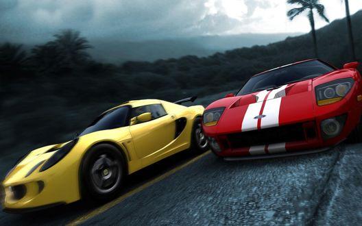 Обои Желтый Lotus Elise и красный Ford GT из игры Test Drive Unlimited