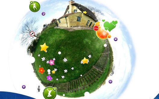 Обои Круговая панорама (Земля, дом и множество дорожных музыкальных знаков, сердечек и цветов)