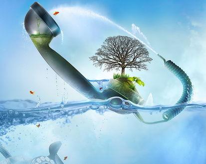 Обои Телефонная трубка в которую льется вода из телефонного провода, из которой растет дерево и выпрыгивает оранжевая рыбка