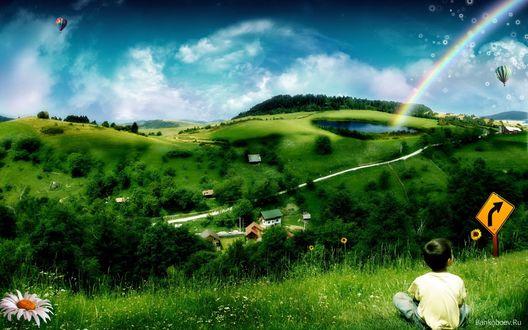 Обои Яркое и красочное детство, зелень, небо и красочная радуга