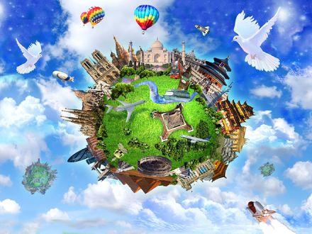 Обои Небылицы (На малюсенькой сказочной планете собраны все чудеса света, начиная с пирамид и заканчивая Эйфелевой башней, в небе самолёты, космолёты и воздушные шары.)