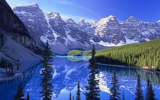 Обои Горное озеро, а вокруг снежные вершины.