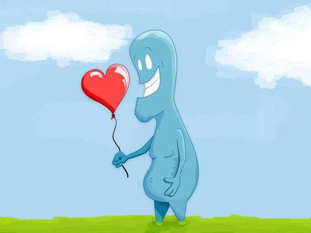 Обои Симпатичное привидение несёт воздушный шарик в форме сердечка