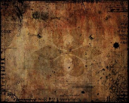 Обои Пожелтевший лист пергамента, на котором можно разглядеть непонятные каббалистические знаки, обрывки фраз и цифры