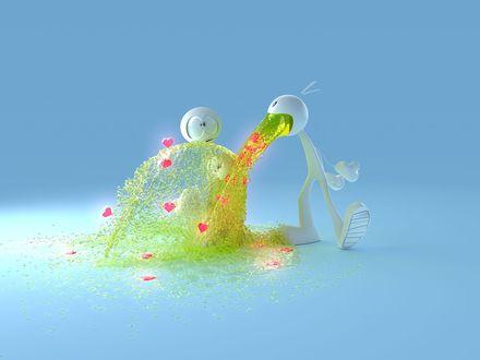 Обои У смешного человечка изо рта извергается фонтан любовного признания с сердечками.