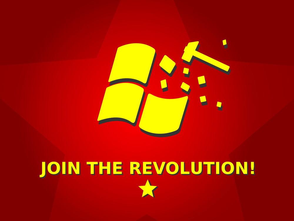 Обои для рабочего стола join the revolution (Разбитая эмблема Windows)