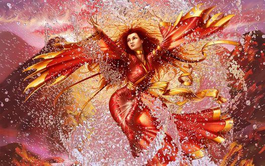 Обои Изящная девушка  в красном платье кружится в танце