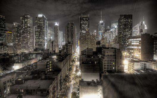 Обои Ночной город Нью-Йорк