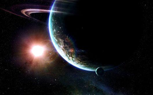 Обои Планета земля(наверно), на заднем плане видим солнце