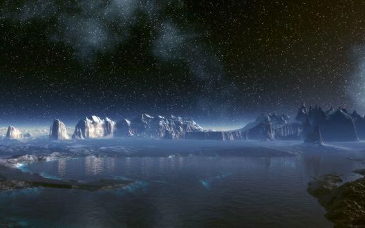 Обои Антарктида, ночь и небо полное звезд.