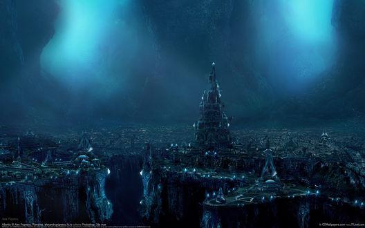 Обои Готический подводный город ночью
