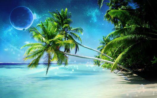 Обои Космос просвечивает сквозь голубизну небо над райским пляжем
