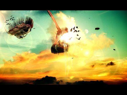 Обои птицы лестницы машины небо и все цветет все вверх тормашками