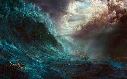 Обои Над утлой лодочкой, в которой пытаются спастись люди с тонущего корабля, в небе разворачивается грандиозное сражение