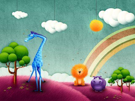 Обои Жираф, лев, бегемот... а где зебра? Где Марти?