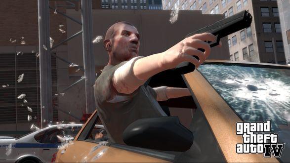 Обои Стрельба из машины (GTA IV)