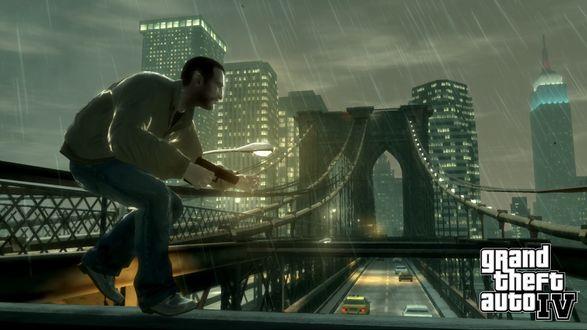Обои Мужик с пистолетом на мосту (GTA IV )