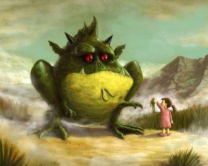 Обои Девочка и большая жаба